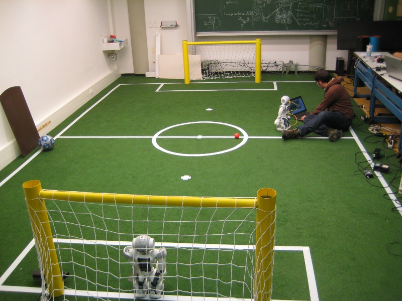 Soccer Field - With two yellow goals.