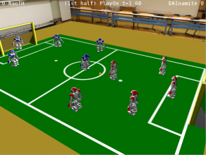 A full SPL game is simulated with virtual vision.